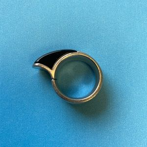 Unisex Armani Sterling and Smoky Quartz Ring